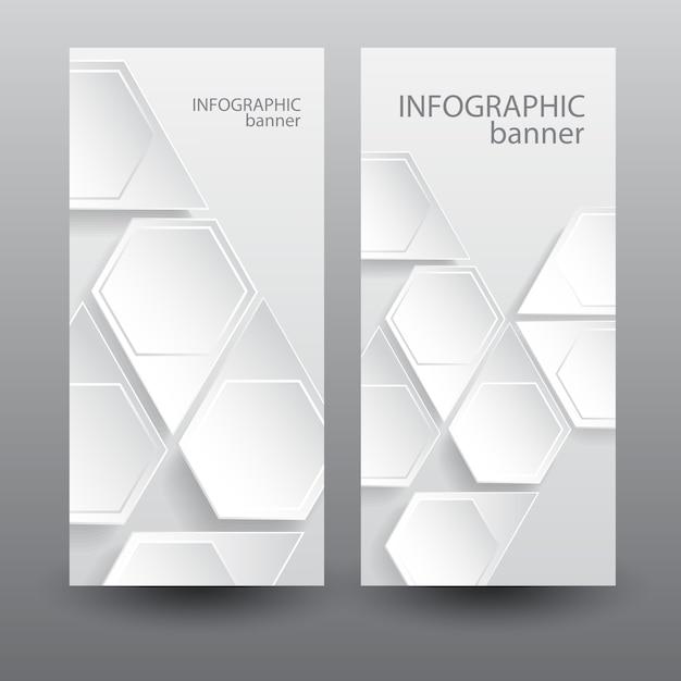 Banner verticale di affari infografica con elementi esagonali web leggero Vettore gratuito