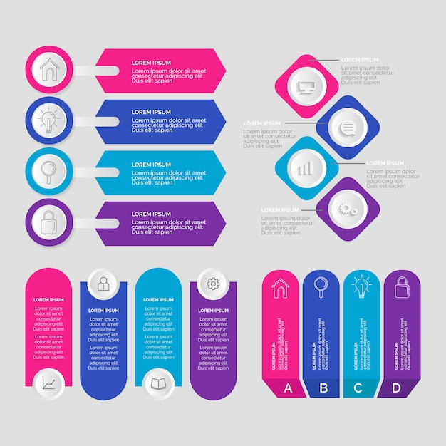 Infographic chart element collection Free Vector