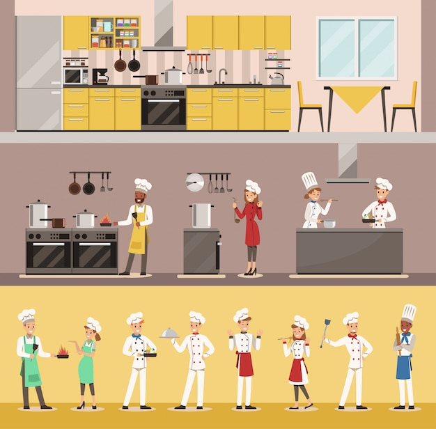 Infographic chef cooking in restaurant character design Premium Vector