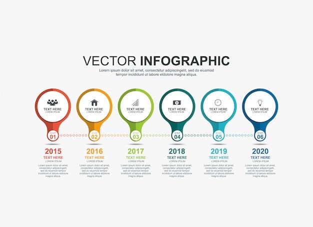 Infographic circle elements timeline process chart template Premium Vector