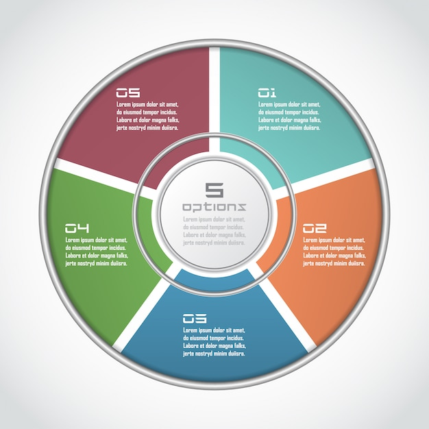 Infographic circle in thin line flat style. business presentation template with 5 options, parts, steps. can be used for cycle diagram, graph, round chart Premium Vector