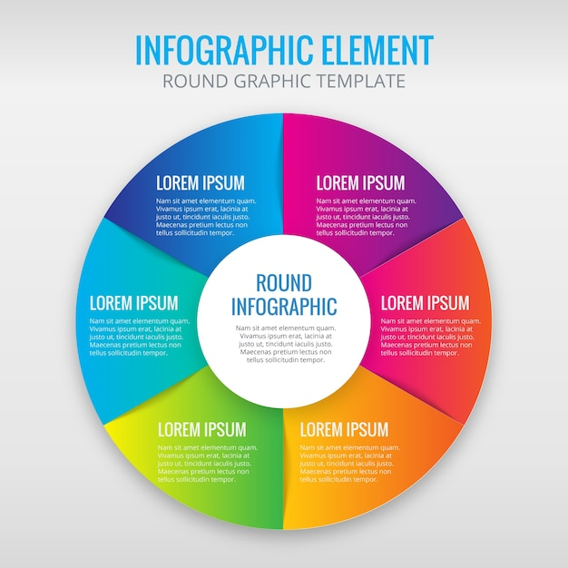 Infographic circle with 6 colors Free Vector