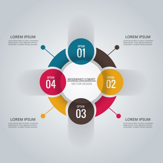 Circle of four arrows icons free download infographic circle with four options ccuart Images