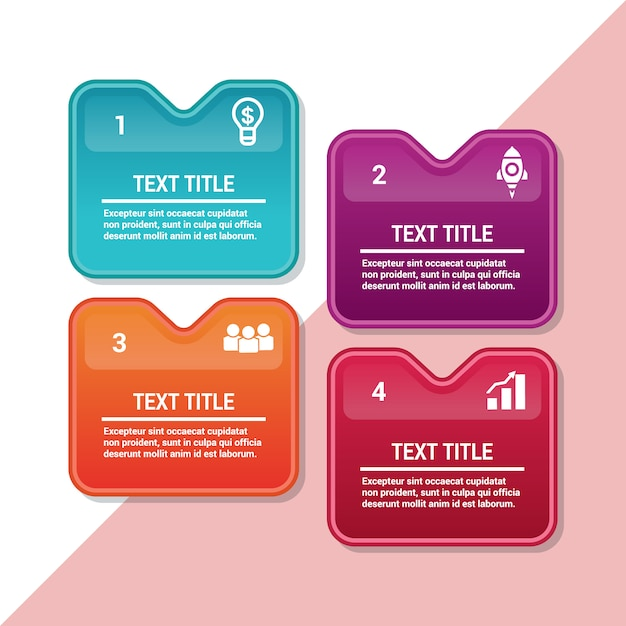 infographic colorful abstract square labels template design vector