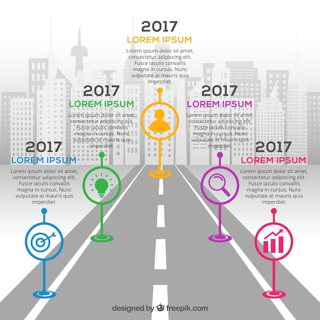 Infographic company milestones concept with road Free Vector