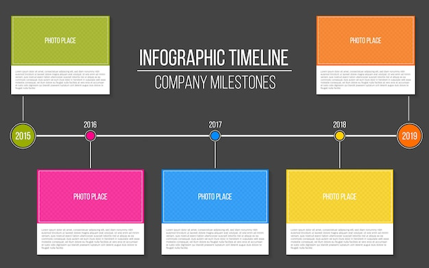 Infographic company milestones timeline template. Premium Vector