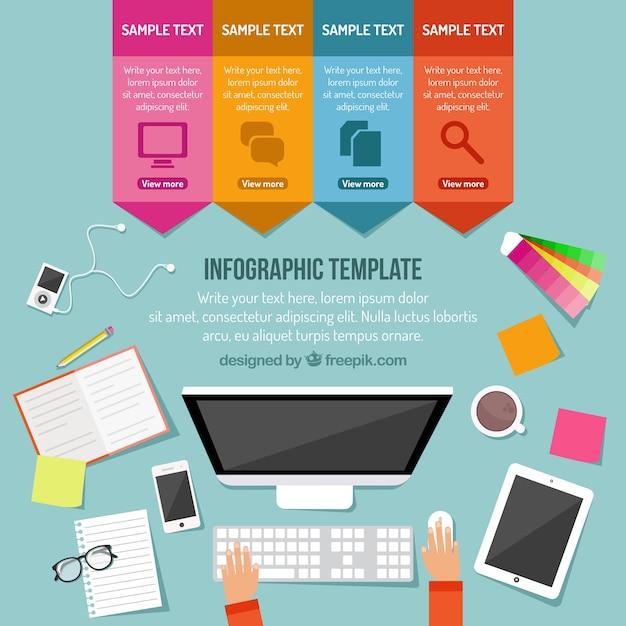 Infographic Computer Template Vector Free Download