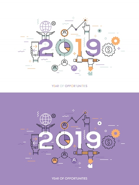 Infographic concept 2018 year of opportunities Premium Vector