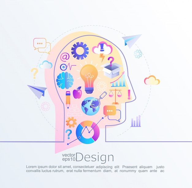 Infographic concept of big inspiration in our brain Premium Vector