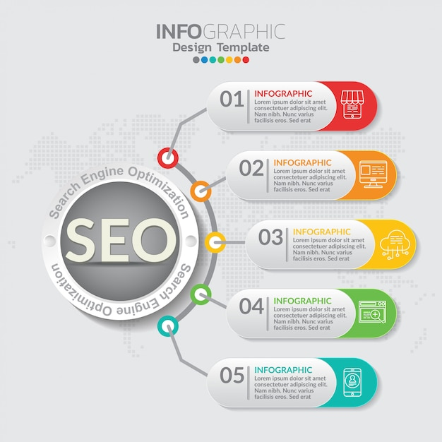 Infographic concept illustration of seo infographics with business layout template. Premium Vector