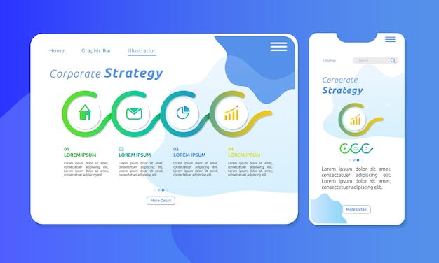 Infographic of corporate strategy in web or mobile display Premium Vector