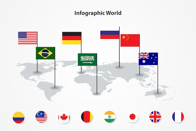 Infographic country world map, international world flags Premium Vector