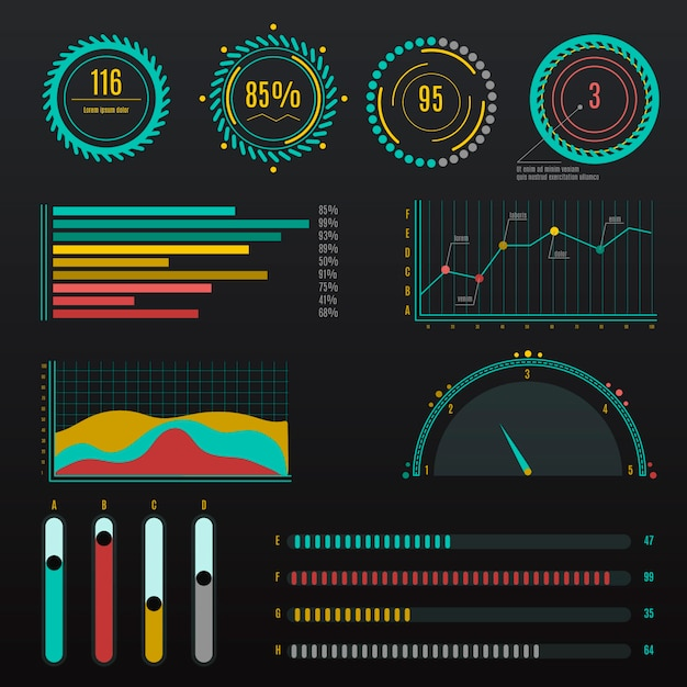 Infographic dashboard element collection Free Vector
