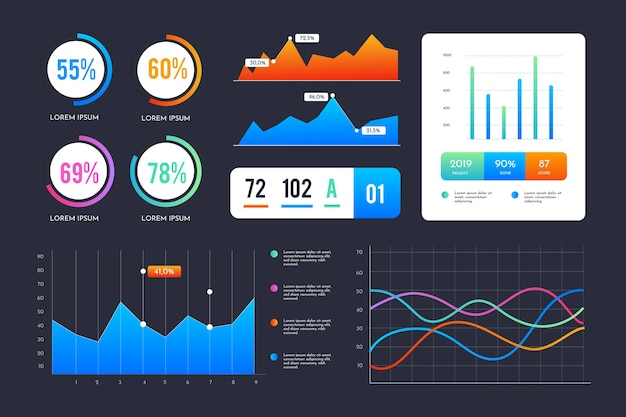 Infographic dashboard element set Free Vector