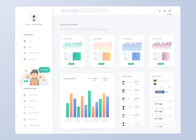 Infographic dashboard panel template for ui ux design Premium Vector