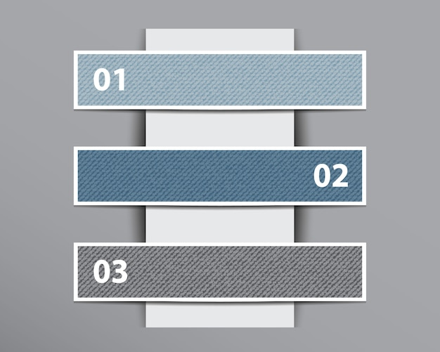 Infographic denim banners on vertical paper layer. Premium Vector