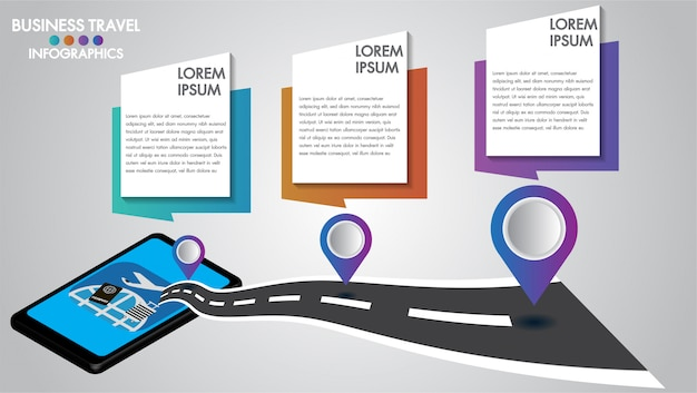 Infographic design 3d mobile tablet with road navigation