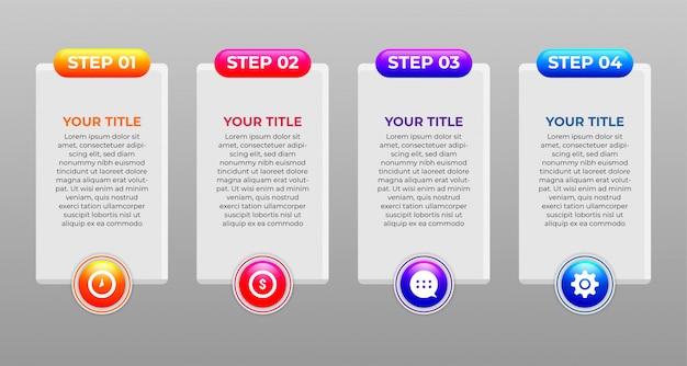Концепция дизайна инфографики шагов и светящихся цветов Premium векторы