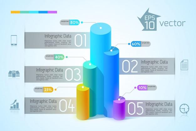 カラフルな3 dグラフのインフォグラフィックデザインコンセプト5つのオプションと青い図のビジネスアイコン 無料ベクター