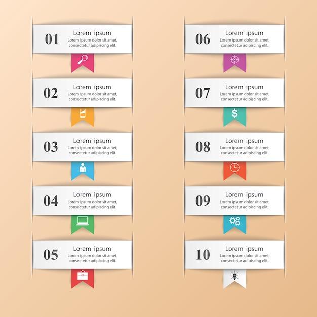 Infographic design. list of 10 items. Premium Vector