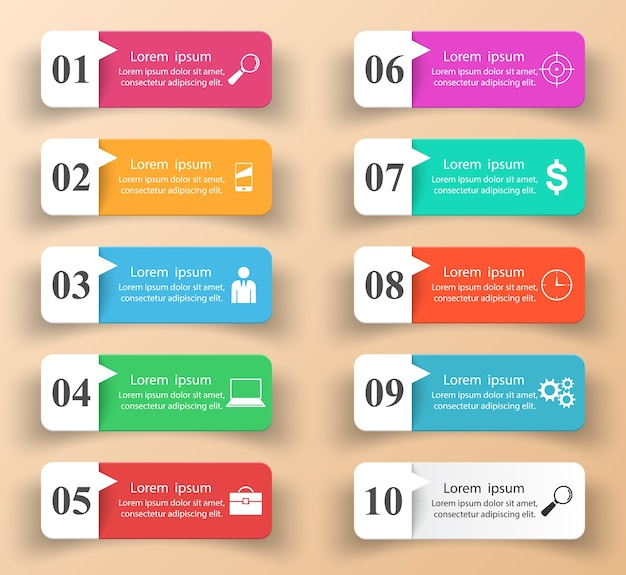 Infographic design. List of 10 items. Premium Vector