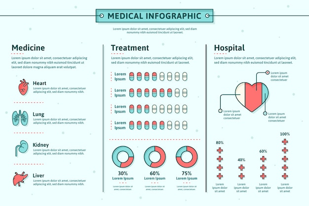 Infographic design medical field Free Vector