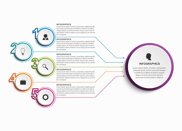 Infographic design organization chart template for business presentations Premium Vector