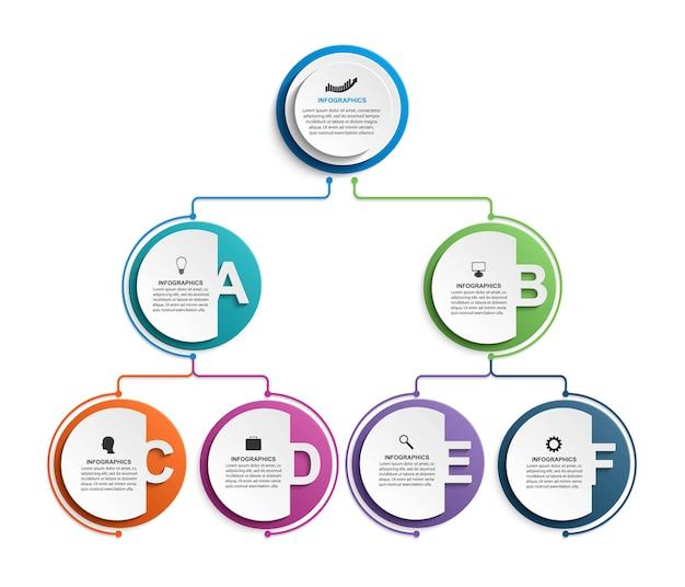 Infographic design organization chart template Premium Vector