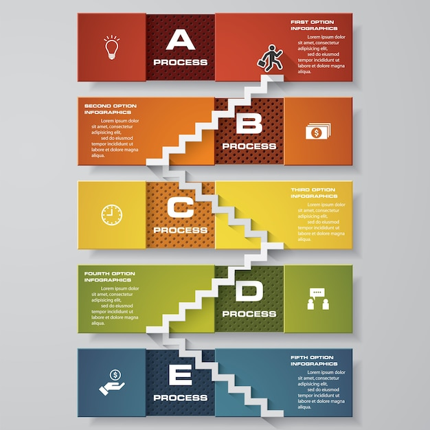 Infographic design stair template with 5 steps Premium Vector