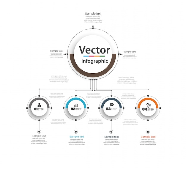 Infographic design template. business concept with options and 4 steps . Premium Vector