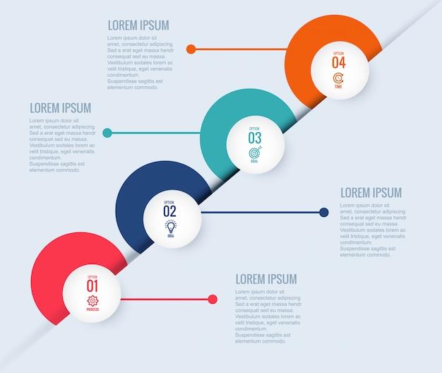 4 단계 infographic 디자인 서식 파일 창조적 인 원 개념 무료 벡터