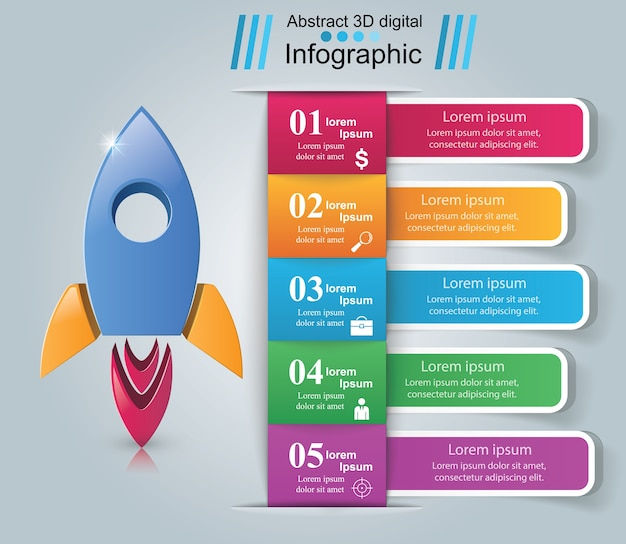 Infographic design template and marketing icons. Premium Vector