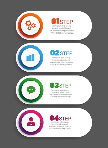 Infographic design template with 4 options, parts, steps or processes Premium Vector