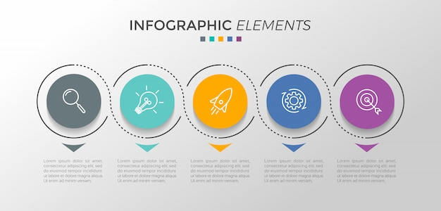 Infographic design template with 5 options or steps Premium Vector