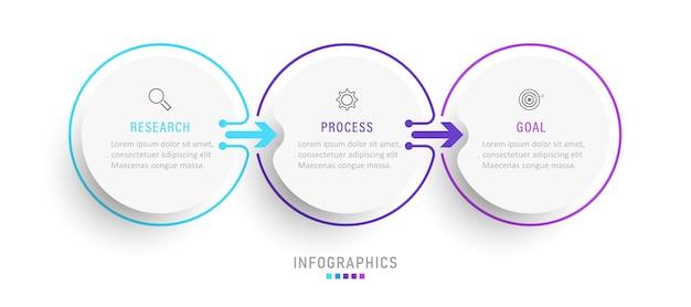 Шаблон оформления инфографики с значками и 3 вариантами или шагами. Premium векторы