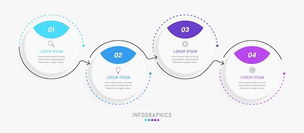 아이콘 및 4 가지 옵션 또는 단계가있는 인포 그래픽 디자인 템플릿. 프리미엄 벡터