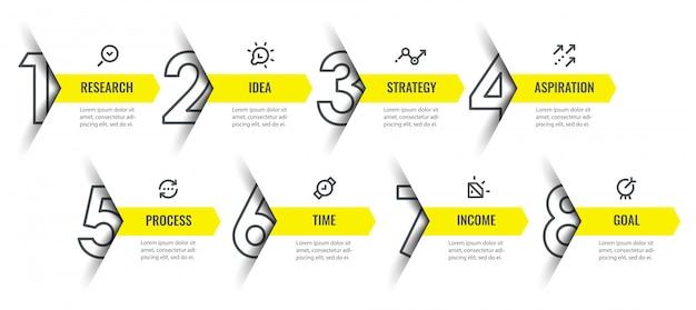 아이콘 및 8 옵션 또는 단계가있는 Infographic 디자인 템플릿. 프리미엄 벡터
