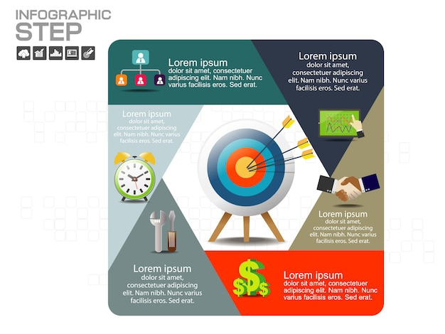 Infographic design template with icons and options Premium Vector