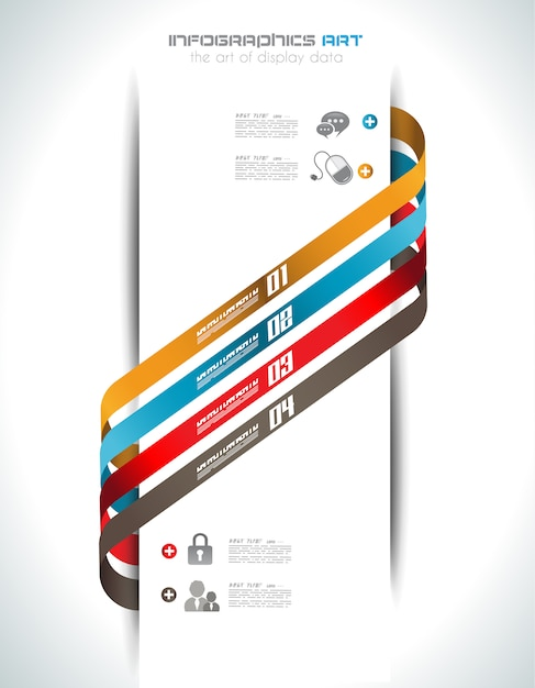 Infographic design template with paper tags. Premium Vector