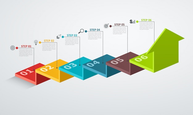 Infographic design template with step structure up arrow, business concept with 6 options pieces. Premium Vector