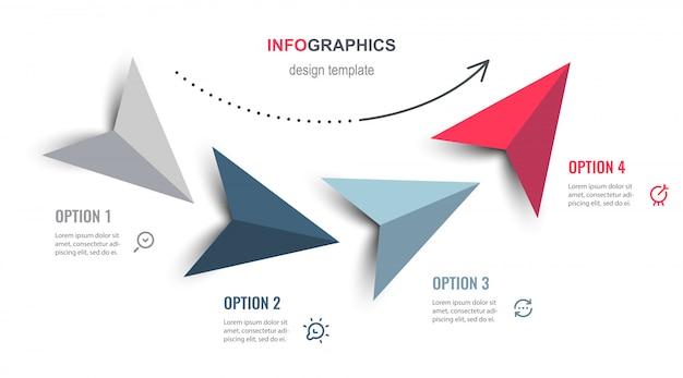 Инфографический дизайн со стрелками и 4 вариантами или шагами. инфографика для бизнес-концепции. Premium векторы
