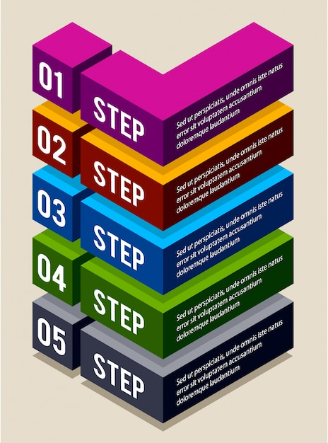 infographic design with steps Free Vector
