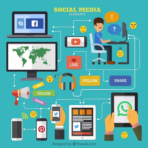 Infographic Diagram Social Media In Flat Design
