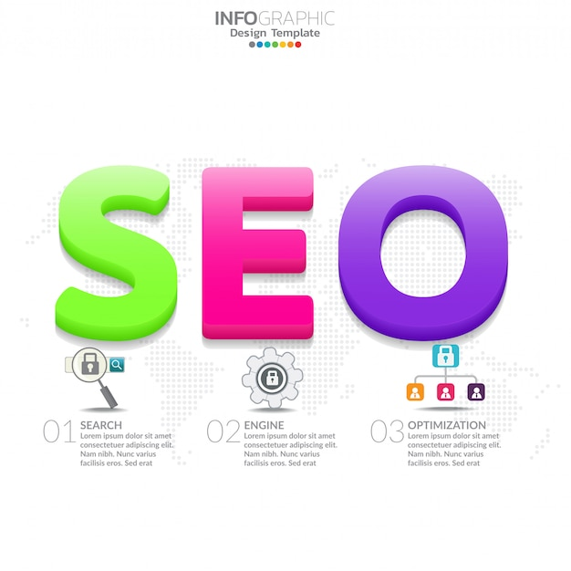 Infographic diagram with word seo. marketing concept. Premium Vector