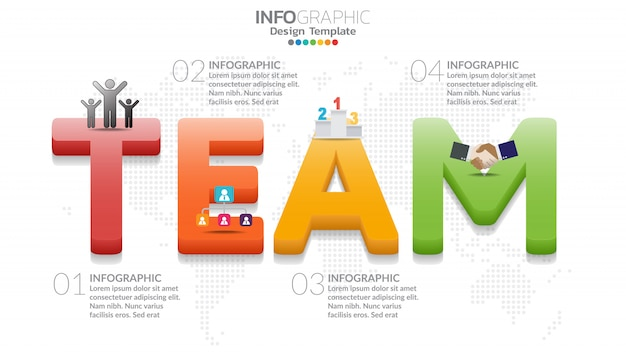 Infographic diagram with word team Premium Vector