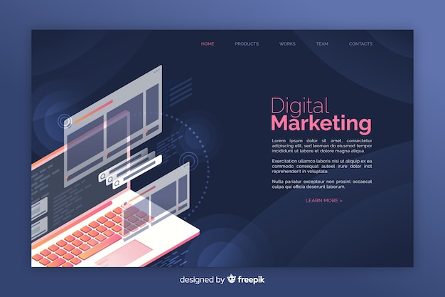 Infographic digital marketing landing page Free Vector