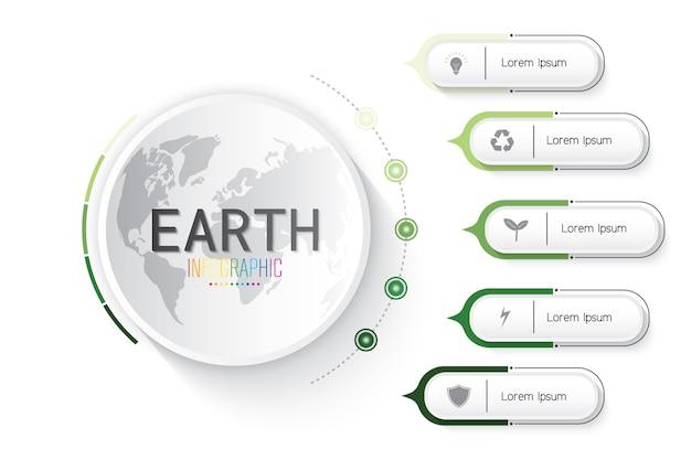 Infographic of earth Premium Vector