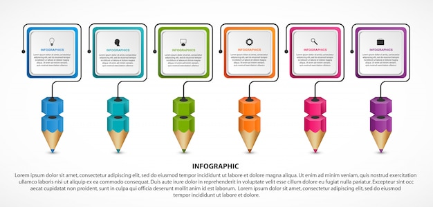 Infographic for education with colorful pencils. Premium Vector