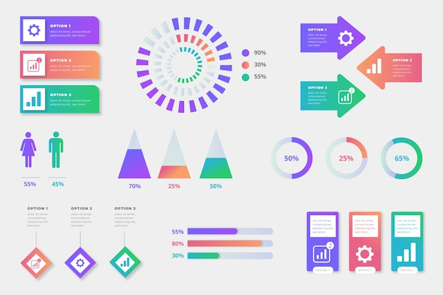 Infographic element collection concept Free Vector