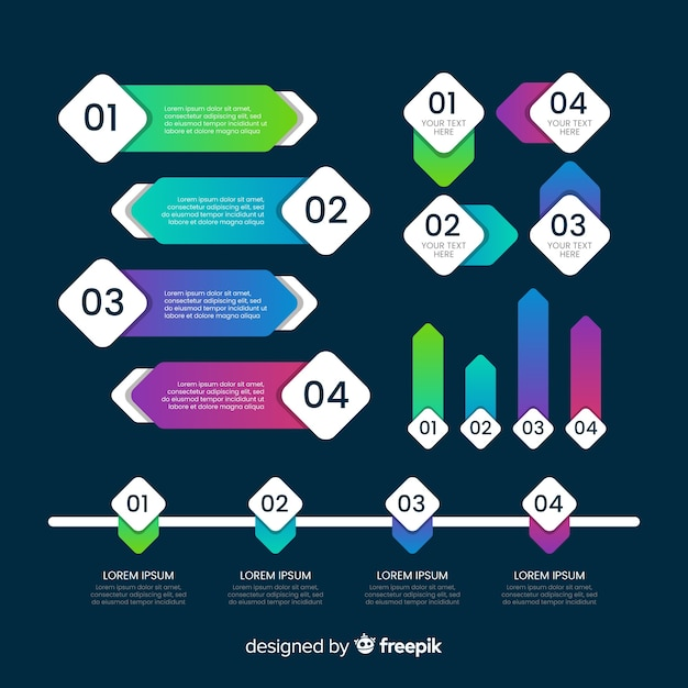 Infographic element collection flat design Free Vector